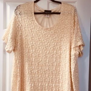 Tops - Yellow lace top with slip under top.